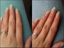 Moje naturalne paznokcie po ściągnięciu hybrydy wyglądają tak: Po lewej - po zdjęciu lakieru i wypolerowaniu.  Po prawej - po skróceniu i opiłowaniu. Nie uważam, by hybryda nisz...