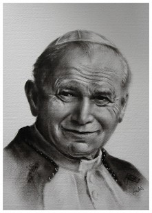 Jan Paweł II portret ręcznie malowany techniką dry brush. Format 42,5X49cm więcej- patrycjagustaw@onet.pl