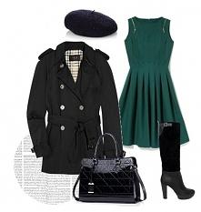 czarny trencz, zielona sukienka, czarne kozaki