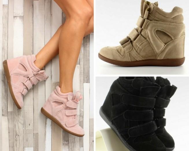 Stylowe sneakersy na ukrytym koturnie o wysokości 8 cm. Wykonane z zamszu ekologicznego, zapisane na szerokie paski z rzepami. Mają gruby język z poduszeczką podkreślający ich charakter. Buty są bardzo wygodne. Podobają się wam??
