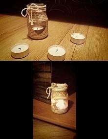 Brakuje zakrętki do słoiczka? Spróbuj zrobić z niego świecznik !:) Sznurek (ja ten sznurek wzięłam z kuchni,sznurek wykorzystywany do wiązania pieczeni :) + nożyczki,którymi moż...
