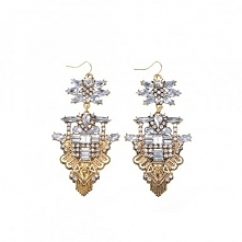 Fashion Golden Chain White Glass Crystal Choker Statement Pendant Bib Necklace