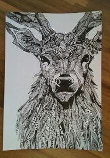 Jeleń tatuaż - Wzorowane