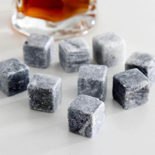 Kamienie / Kamienne kostki lodu do whisky i drinków wielokrotnego użytku STONE CUBES (6 szt.)