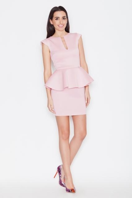 Dopasowana sukienka z baskinką. Idealna sukienka na wesele lub do pracy na spotkanie biznesowe.