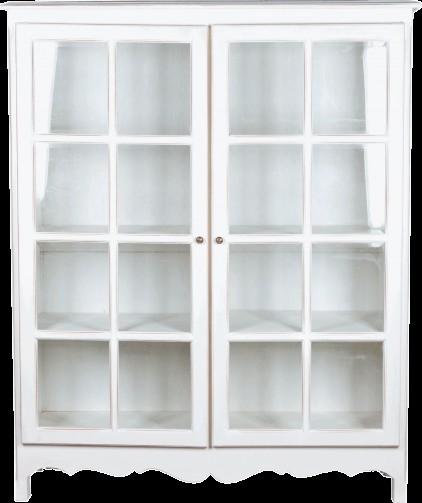 Witryna z podwójnymi, przeszklonymi drzwiami. Prosta forma, oryginalnie zdobiona. Wykończenie white antique - ciepły odcień bieli, specjalnie postarzany i przecierany, tak by uzyskać efekt mebla wiekowego, inspirowanego francuską Prowansją.