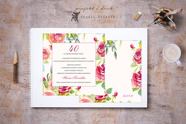 Zaproszenia na 40-te urodziny (czterdziestkę) 30-te urodziny, 18-te urodziny lub każde inne z motywem kwiatów malowanych akwarelami