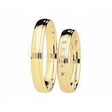 Delikatny komplet obrączek ślubnych z żółtego złota z brylantami z kolekcji You&Me