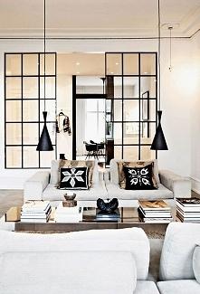 Czarno-biały salon, stylowy...