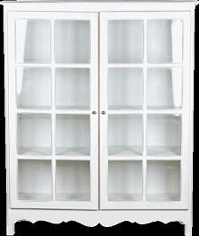 Witryna z podwójnymi, przeszklonymi drzwiami. Prosta forma, oryginalnie zdobiona. Wykończenie white antique - ciepły odcień bieli, specjalnie postarzany i przecierany, tak by uz...