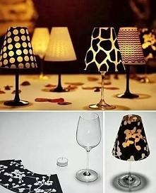 Świecznik z lampki od wina. Super pomysł na romantyczny wieczór, ciekawe będzie również pomalowanie lampek od wina. Można również abażur robić z papieru,ale tak zakleić aby płom...
