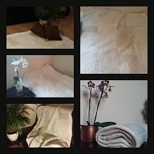 Patchworkowy kocyk/narzuta w kolorze ecru, idealny na zimne jesienne wieczory oraz jako dekoracja wnętrz...chętni?