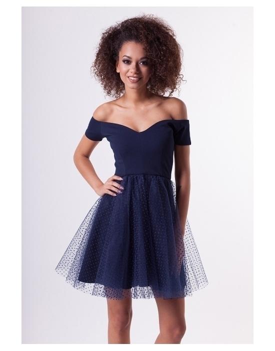 mam do sprzedania granatowa sukienkę z tiulem więcej informacji w linku pod zdjęciem