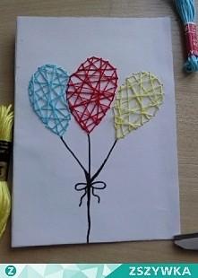 Kartka, którą wykonałam metodą haftu matematycznego.