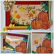 Jesienna kartka shaker box z dyniami
