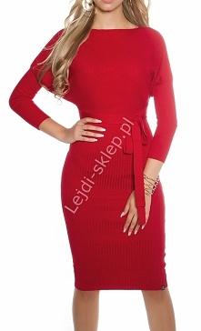 Czerwona dzianinowa sukienka. lejdi-sklep.pl