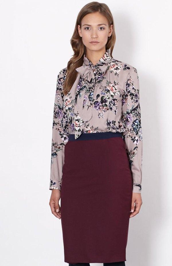 Click Fashion Genewa spódnica bordowa Elegancka spódnica damska, ołówkowy fason, spódnica z rozcięciem z tyłu