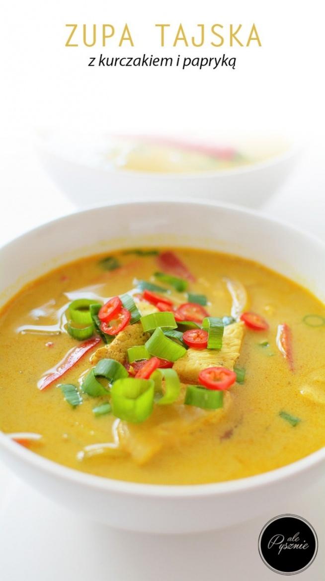 Pikantna tajska zupa z kurczakiem i papryką. Kliknij w zdjęcie i zobacz przepis.