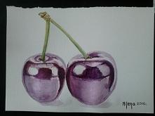 cherries, akwarela