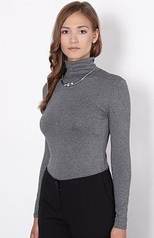 Click Fashion Otis golf szary Kobiecy golf, wykonany z gładkiej tkaniny, dopasowany fason