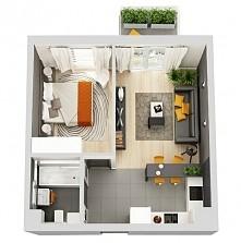 Łazienka, sypialnia, kuchnia + salon. #pomarańczowy  ~wizualizacje
