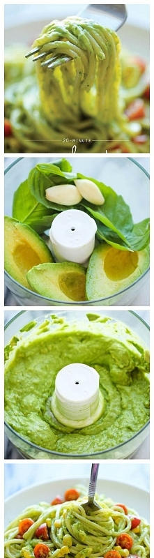 Ingredients:      12 ounces spaghetti     2 ripe avocados, halved, seeded and peeled     1/2 cup fresh basil leaves     2 cloves garlic     2 tablespoons freshly squeezed lemon ...