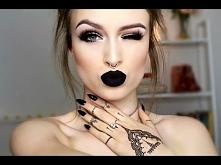 Soft cut crease + bold matte black lips tutorial