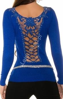 Chabrowy sweter z gipiurową...