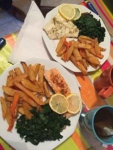 12.10 Obiad - losos/ szpina...