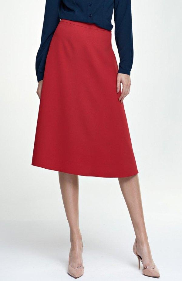 Nife SP30 spódnica czerwona Szykowna spódnica, wykonana z jednolitego materiału, trapezowy fason