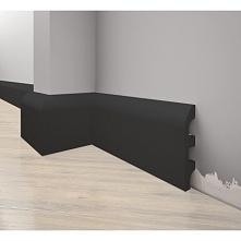Czarna listwa przypodłogowa LPC-19M firmy Creativa. Niezwykle awangardowe rozwiązanie sztukaterii przypodłogowej. Dostępne w sklepie online Dekorplanet.pl