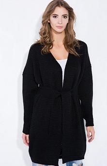 Fobya F342 sweter czarny Luźny sweter, typ oversize, z długim rękawem