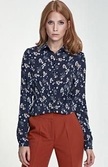 Nife B70 koszula granatowe kwiaty Elegancka koszula z kołnierzykiem, wykonana z tgładkiej tkaniny, długi rękaw