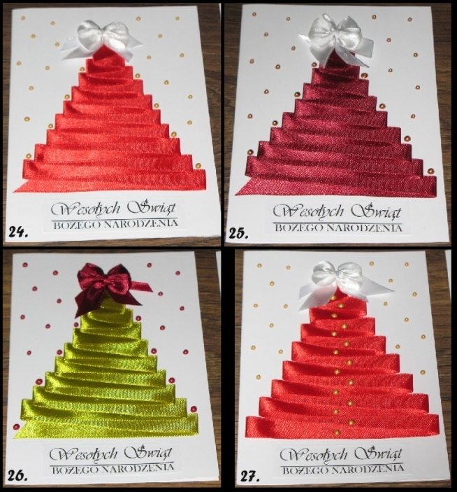 Propozycje świąteczne, satynowa wstążka i perełki w żelu, format A6, zachęcam do zakupu :)
