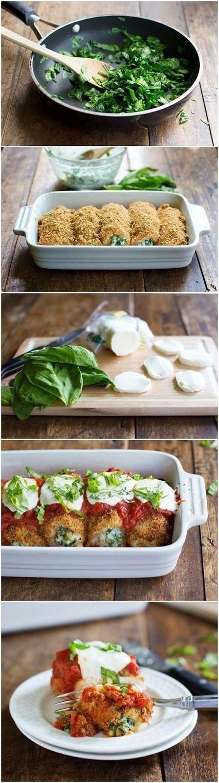 pyszne roladki . Udostępnij Skład: 3 filety z kurczaka szpinak (jeżeli wybierzemy ten mrożony to ok. 3 kostki) 200 g koncentratu pomidorowego 1 mozzarella 1 łyżka miodu 1łyżka ziół prowansalskich 5 ząbków czosnku sól pieprz olej A oto jak to zrobić: 1. Filety z kurczaka przekroić na pól i stłuc tłuczkiem. 2. Filety posolić i popieprzyć, a w tym czasie na patelnie wrzucić szpinak z jedną łyżką oleju, dodać 2 ząbki czosnku, sól i pieprz oraz przesmażyć kilka minut. 3. Przygotowane wcześniej filety posmarować szpinakiem i zawinąć w roladki. 4. Naczynie żaroodporne polać niewielką ilością oleju i ułożyć roladki. 5. W miseczce rozrobić przecier pomidorowy z ¾ szklanki wody, dodaję miód, zioła prowansalskie, sól, pieprz i 3 ząbki czosnku. 6. Tak przygotowanym sosem polać roladki i ułożyć na każdej plasterek mozzarelli oraz posypać odrobiną ziół prowansalskich. 7. Roladki piec w piekarniku nagrzanym do 200oC przez ok. 30 min, na koniec ustawić piekarnik na pieczenie z góry i piec 5 min.