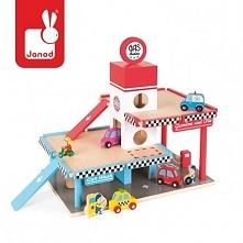 Zestaw drewniany Stacja benzynowa i garaż marki JANOD to idealny prezent dla każdego dziecka. Komplet składa się z kilkupoziomowej stacji obsługi pojazdów, w której na dole umie...