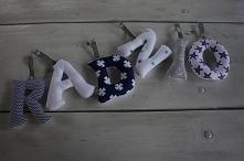 Radzio - szyte na maszynie, ręcznie wykańczane literki bawełniane. Idealna propozycja na  uroczy prezent niezależnie od okazji! Materiały, czcionka i styl zawieszenia do wyboru ...