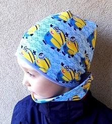 """Minionkowy komplecik czapka przedłużana typu """"smerfetka/beani"""" plus komin, uszyte z miękkich dresówek w dwóch warstwach. Materiały do wyboru do koloru :)"""
