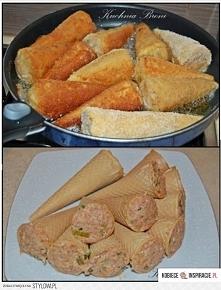 Rożki z mięsem mielonym  Składniki  Rożki waflowe  50dkg mielonej łopatki wieprzowej  1 marchewka  1 cebula  2 łyżki gęstej śmietany 18 %  2 łyżki bułki tartej  natka pietruszki...