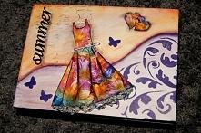 pudelko, sukienka, prezent, decoupage, rekodzielo