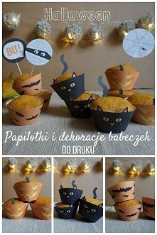 Halloween - Papilotki i dekoracje babeczek, cupcake liners, toppers, DO DRUKU :)