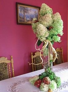 Kompozycja w pokoju Panny Młodej zrobiony z mojej pięknej hortensji