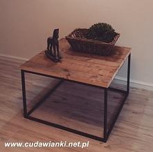 stół kawowy kostka 80x80cm blat drewniany  stelaż metalowy zamówienia Cudawia...