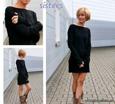 Sukienka mini EASY z długim rękawem - rozmiary S/M/L  Sisters - Polski producent odzieży dla kobiet. Strona producenta shopsisters.eu