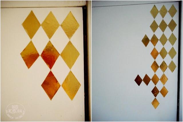 Nowa szafa pomalowana na biało - dodane złote romby
