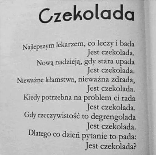 Oda Do Czekolady Na Wiersze Zszywkapl