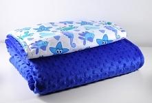Kocyk minky i bawełna z poduszką do wózka, z ciepłym wypełnieniem.