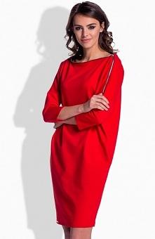 Lemoniade L158 sukienka czerwona Rewelacyjna sukienka, fason typu oversize, góra ozdobiona rozpinanym zamkiem