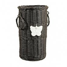 Wiklinowy kosz na parasole - wenge z motylkiem