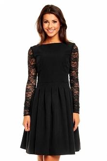 Czarna sukienka z koronkowy...